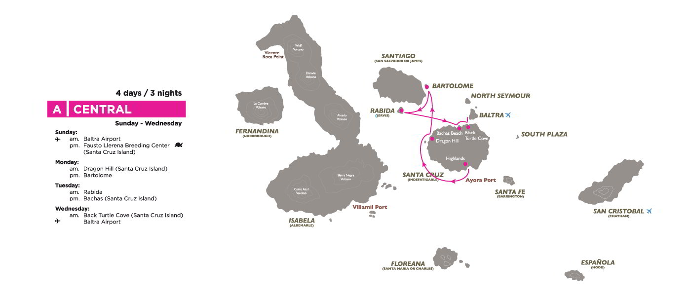 Galapagos Map with Corals A Itinerary