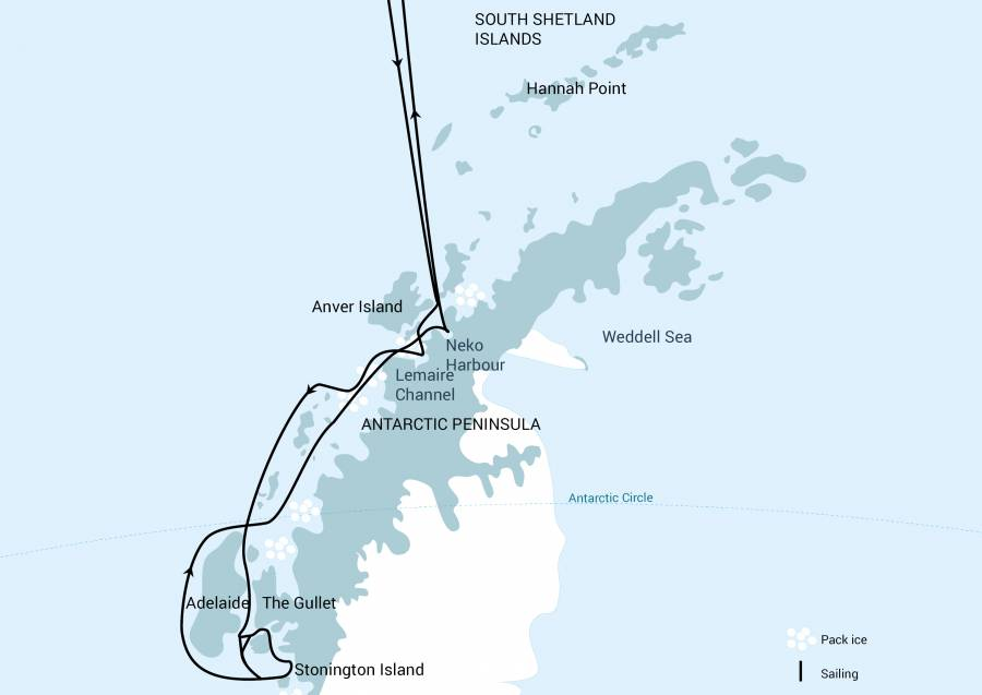 Antarctica Whale Watching Cruise Map